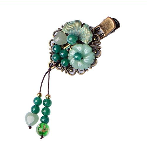 Wholesale 5 Pcs Antique Copper Plated Flower Many Colored Glaze for Women Classic Style Hair Jewelry