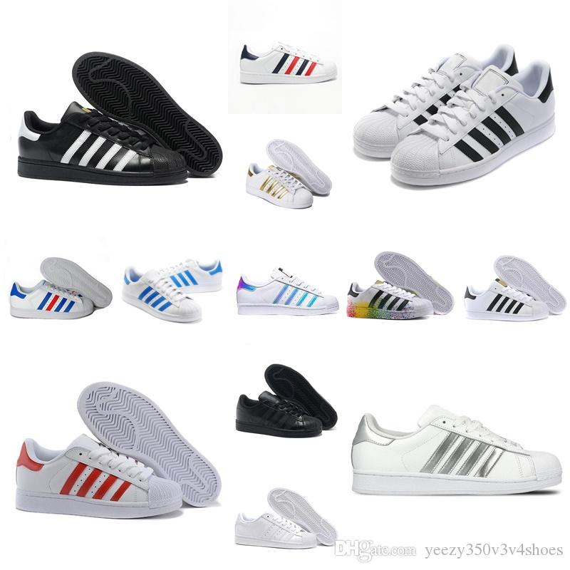 Hot Fashion womens Casual shoes Superstar Females Flat Shoes Women super star men Gold silver white blue green red afhouas-541651