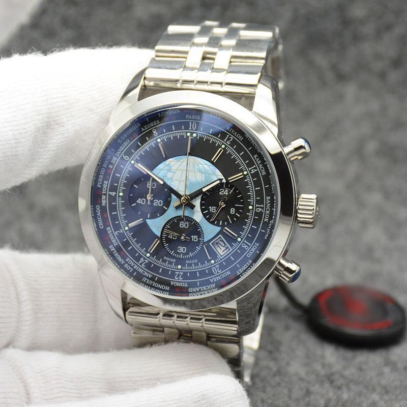 2020 Бесплатная доставка открытый трансокеанский человек любимые часы 44 мм Кварцевый хронограф мужские часы Wrtistwatches с скобкой из нержавеющей стали 316l