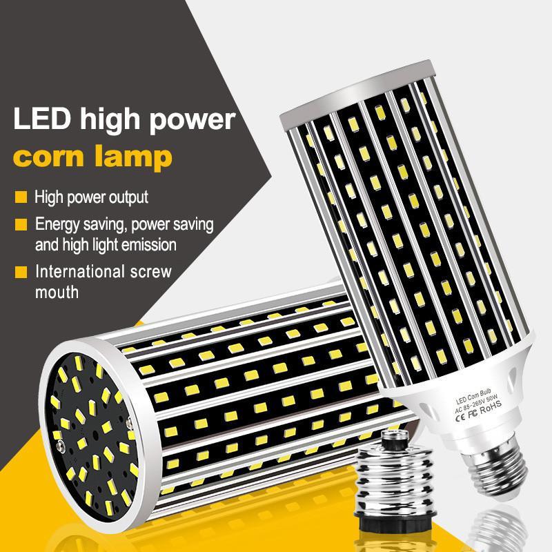 -Lüfter LED-Mais-Glühlampe AC100-277V E27 50W 2835 ohne Lampenabdeckung für Innenhauptdekoration Droplight Straße Spotlight LED011