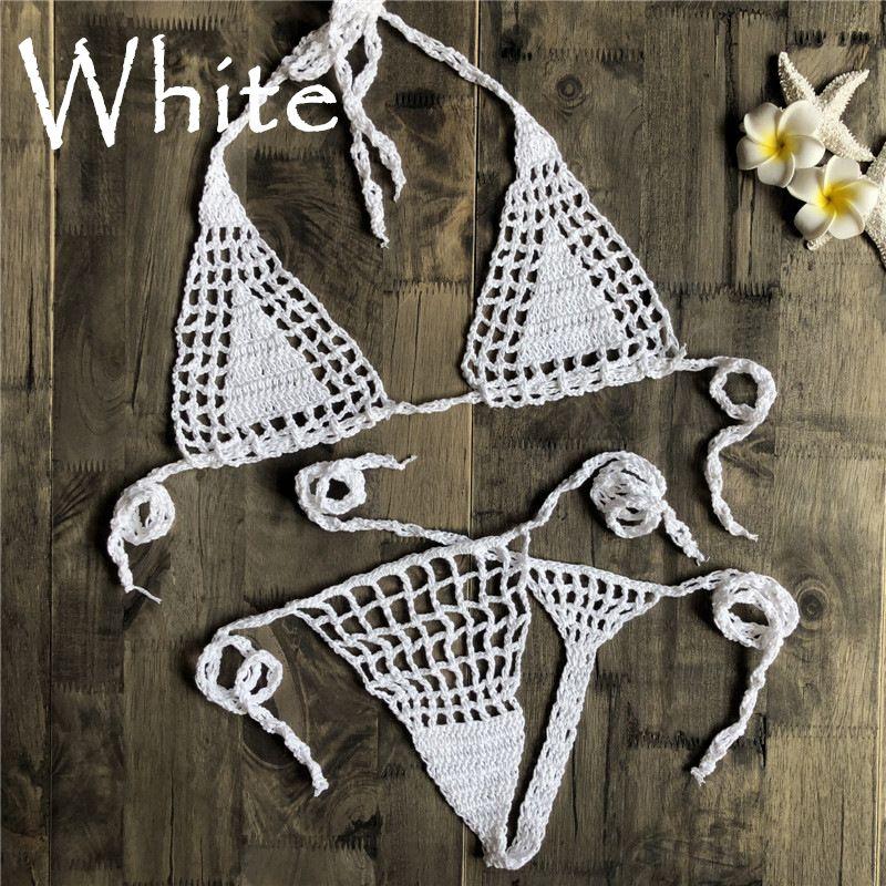Крючком ручной работы вязание крючком Micro Bikini G Thong String Beach Micro Купальники Сексуальное женское белье наборы горячей продажи