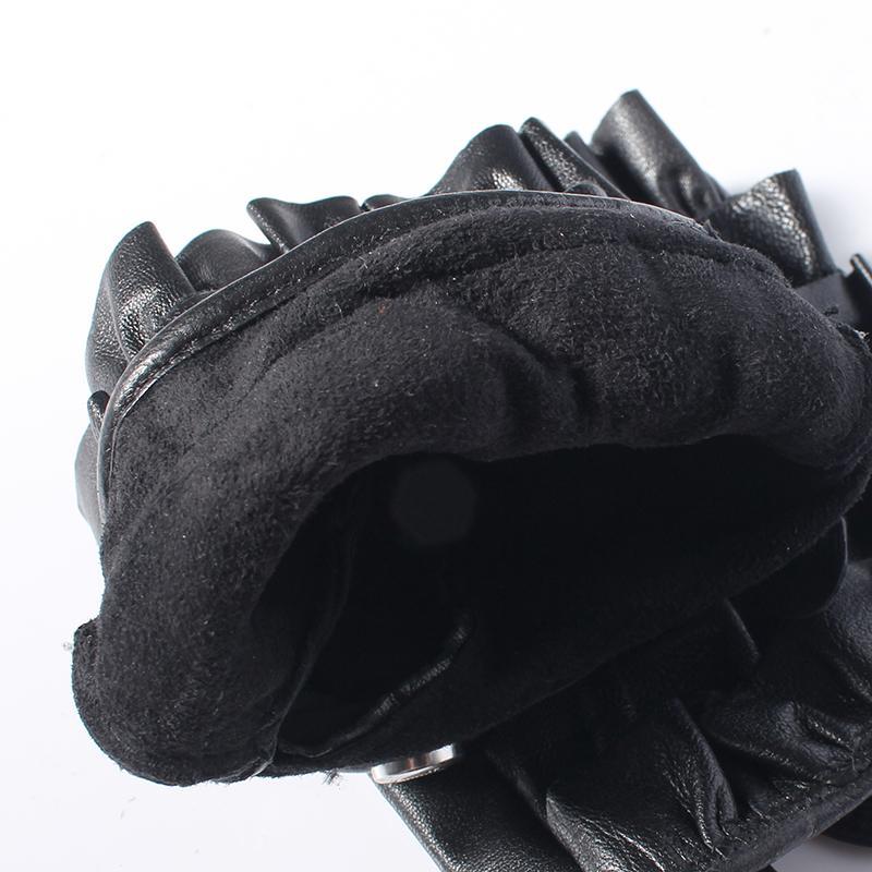 Moda-Gours Primavera Luvas de couro genuíno das mulheres condução sem forro preto moda pele de cabra luvas sem dedos nova chegada GSL062