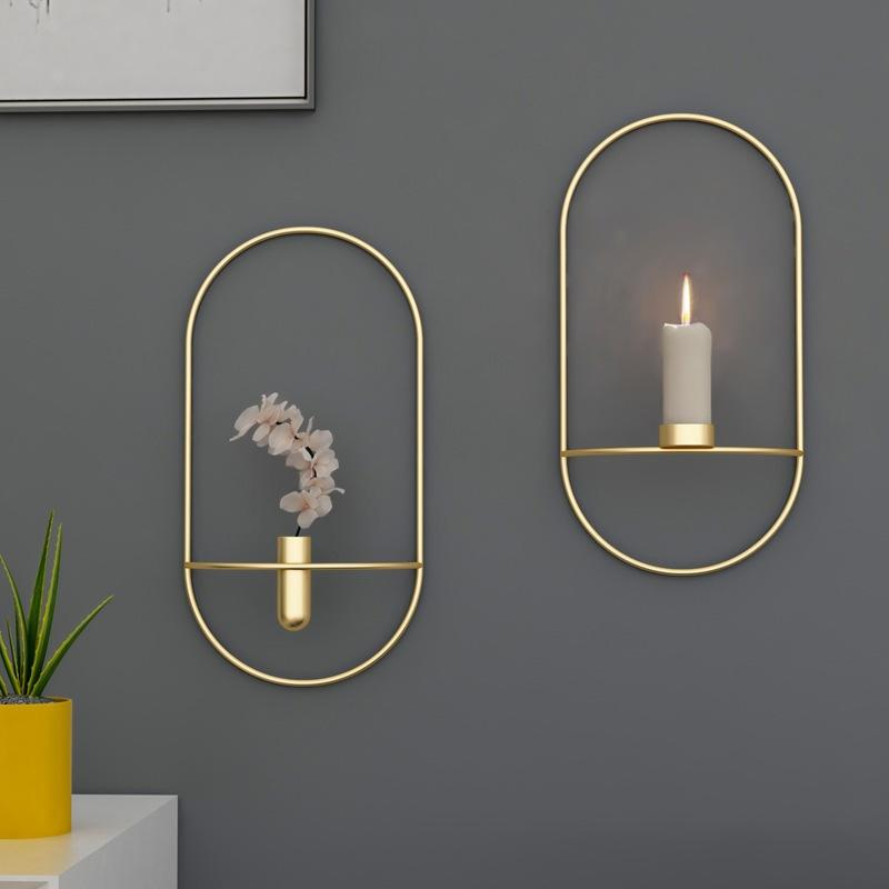Candlestick Metal Wall Candle Holder Modern Sconce Matching Home Ornaments Elegant Wedding Christmas Decoration Candle Holders