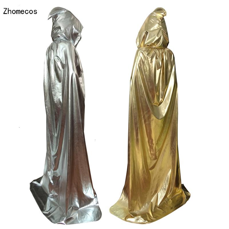 Adulte Sliver Or capuche Cape Costume pour hommes, femmes Carnaval Halloween Fancy Party Dress Cape Cosplay Taille S M L XLMX190921MX190921