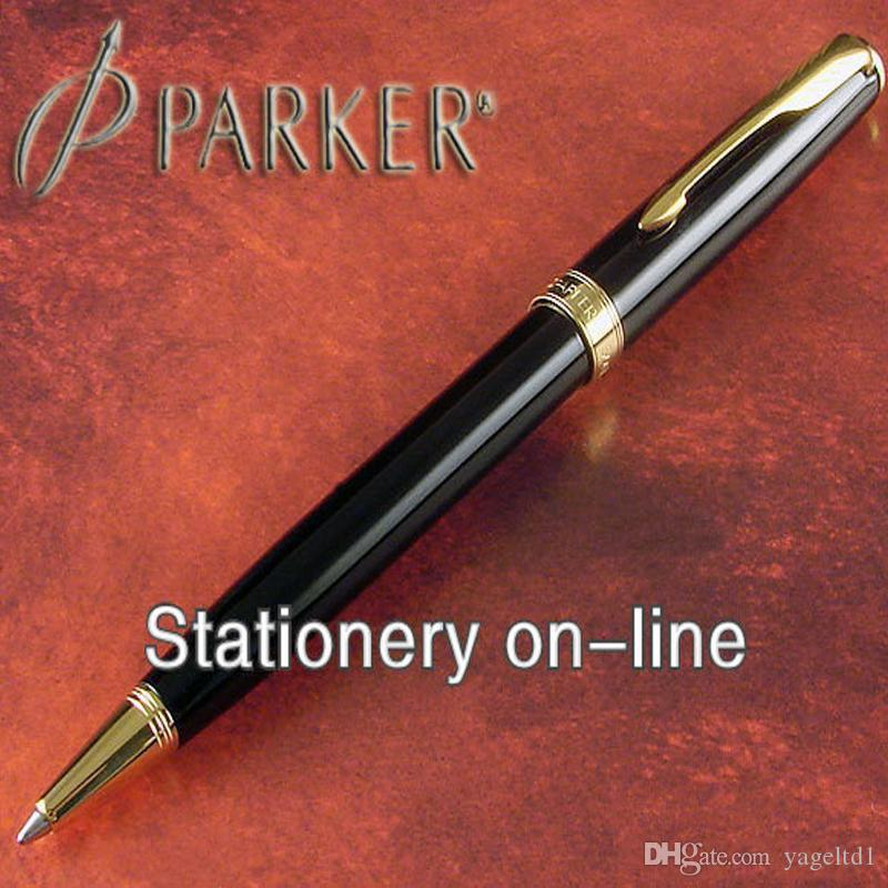 FreeShipping Parker Ballpoint Pen School Office Supplies glossy black parker pens office supplies Stationery Sonnet pen all metal material