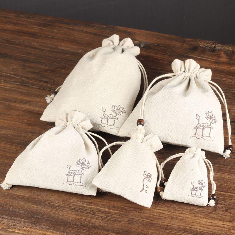حجم متعددة لوتس القطن الأبيض الحقيبة الرباط المخملية رشاقته مجوهرات الحقيبة للسفر القماش الجيب سوار التخزين الحقيبة حقيبة التعبئة والتغليف