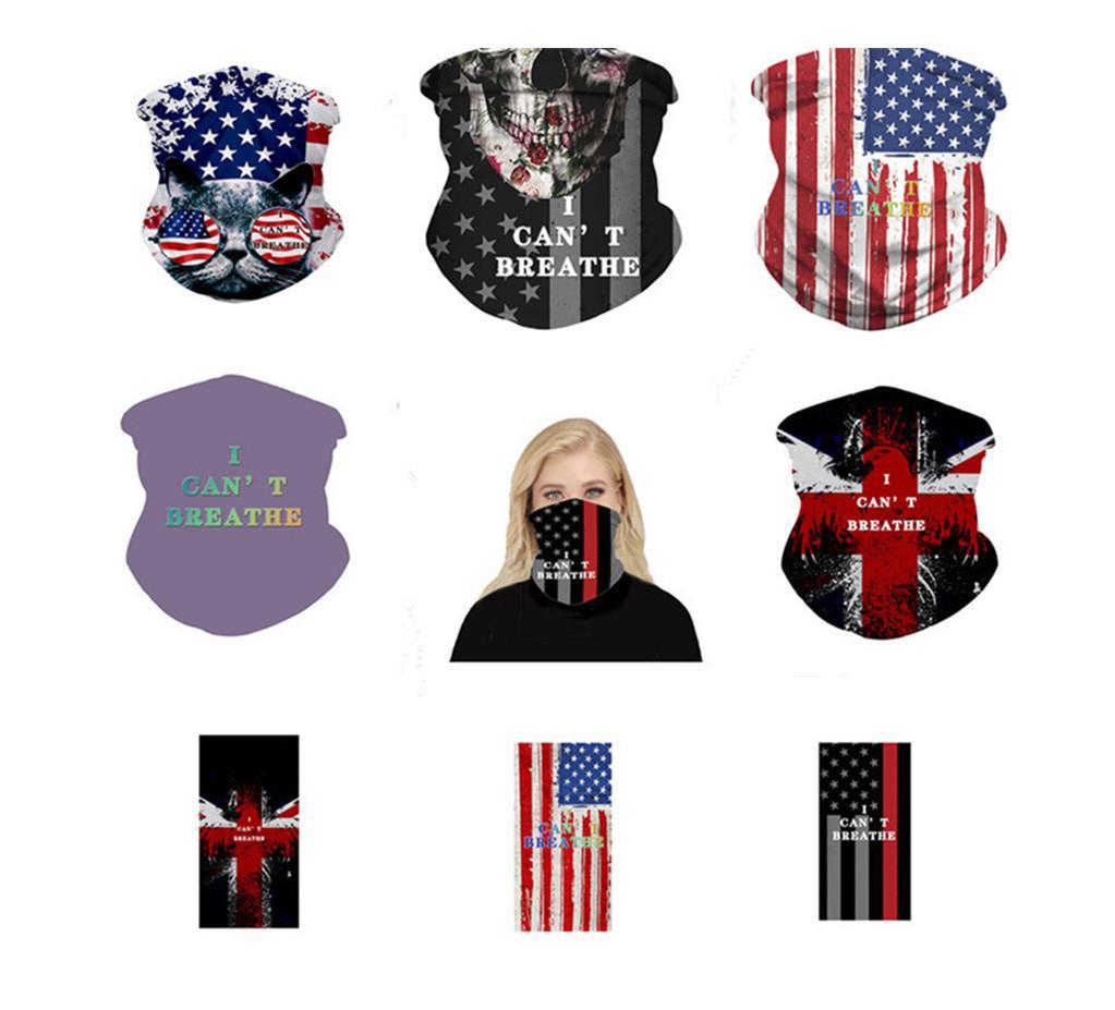 Magia que eu não posso respirar Máscara protectora da Sun resistente bandeira americana Scarf Imprimir máscaras Capa Ciclismo Outdoor Lenços multifuncionais dons especiais