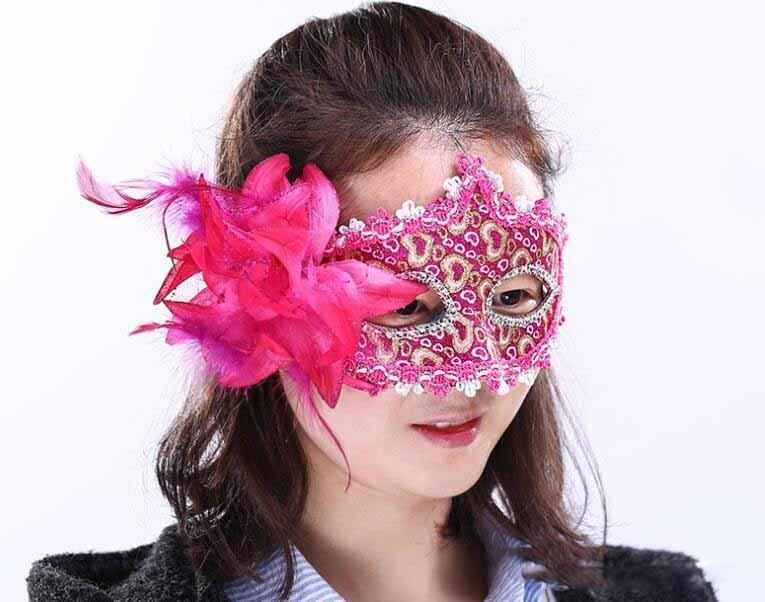 Party Flower Mask Halloween Venetian Masquerade Performance Party Leather Patch Gold Pink Lace Mask