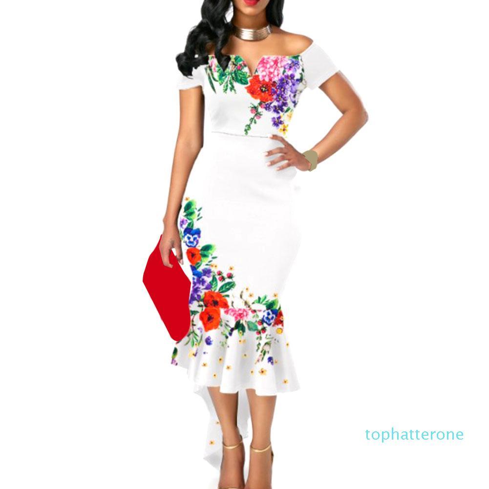 Kadınlar elbise BODYCON Yaz Kokteyli Moda Parti Omuz İnce Şık Bayanlar Seksi Çiçek Fishtail Kısa Kollu Ri 08 Sıcak Satış