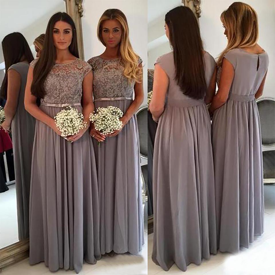 Tamaño largo elegante gris dama de honor vestidos de cuello de la joya Mangas una línea de palabra de longitud vestido de dama de honor vestido formal del vestido Plus BD8986