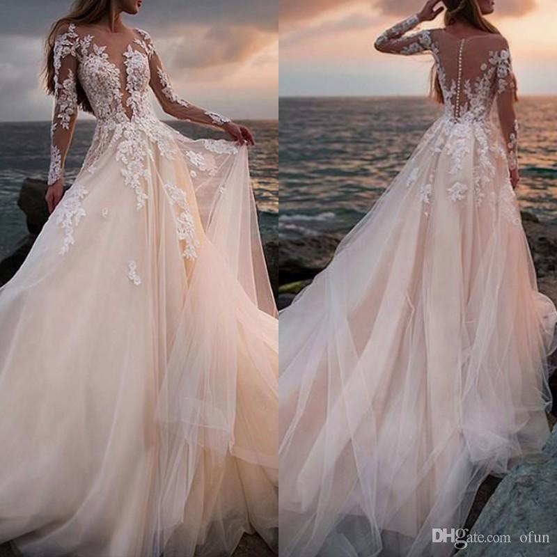 Impressionante Champagne Tulle Vestido De Noiva Apliques De Praia Uma Linha De Vestido De Noiva Com Ilusão Rendas Mangas Compridas vestido de novia
