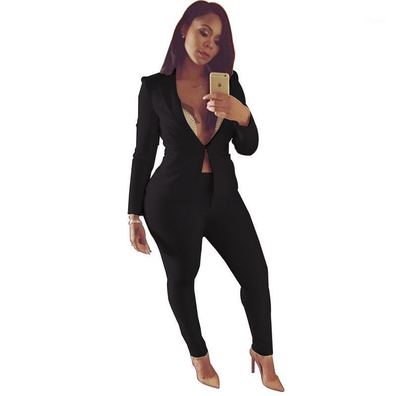 Женские костюмы Blazers Black White White Blue Office Bluits Conture Set Женская повседневная стройная элегантная женская пальто V-шеи Сексуальная шикарный пиджак и брюки