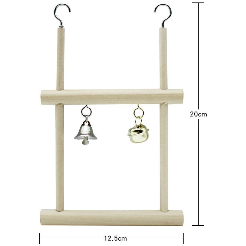 Double Grid Pet Bird Parrot Toys Wooden Stand Ladders Climber Bird Playground Toy Swing Cage Hanging Chew Toys for Birds