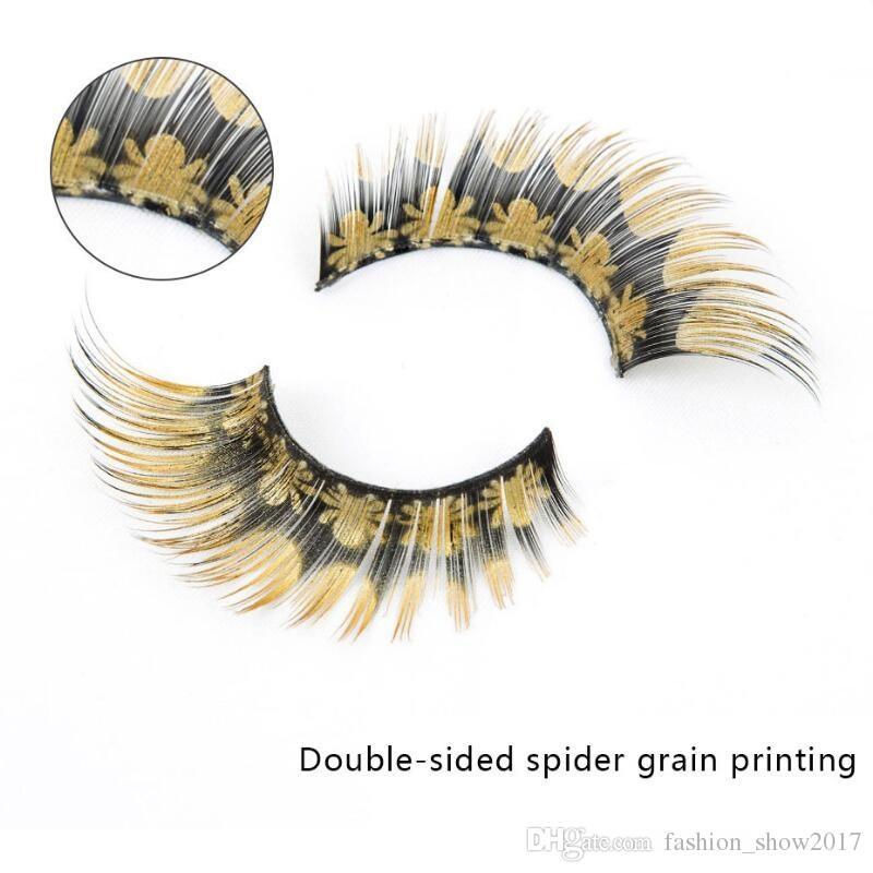 Moda impresso cílios postiços aranha textura impressão cílios postiços personalidade exagerada cílios postiços maquiagem beleza ferramentas