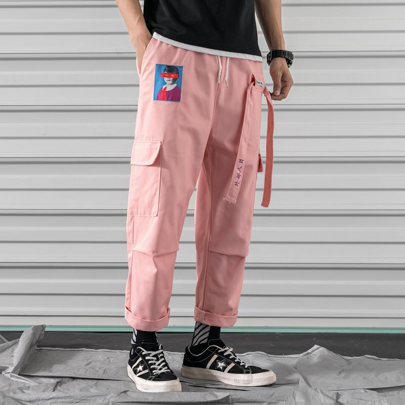Kargo Harem Pembe Pantolon Gündelik Koşucular Baghee Ribbon Taktik Pantolon Harajuku Streetwear Hip Hop Pantolon Men Mens