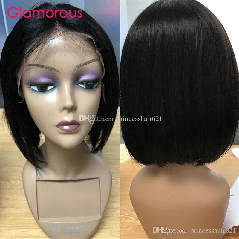 매력적인 인간의 머리카락 밥 가발 자연 색 8 10 12 14 인치 짧은 스트레이트 레이스 프런트 가발 페루 말레이시아 인도