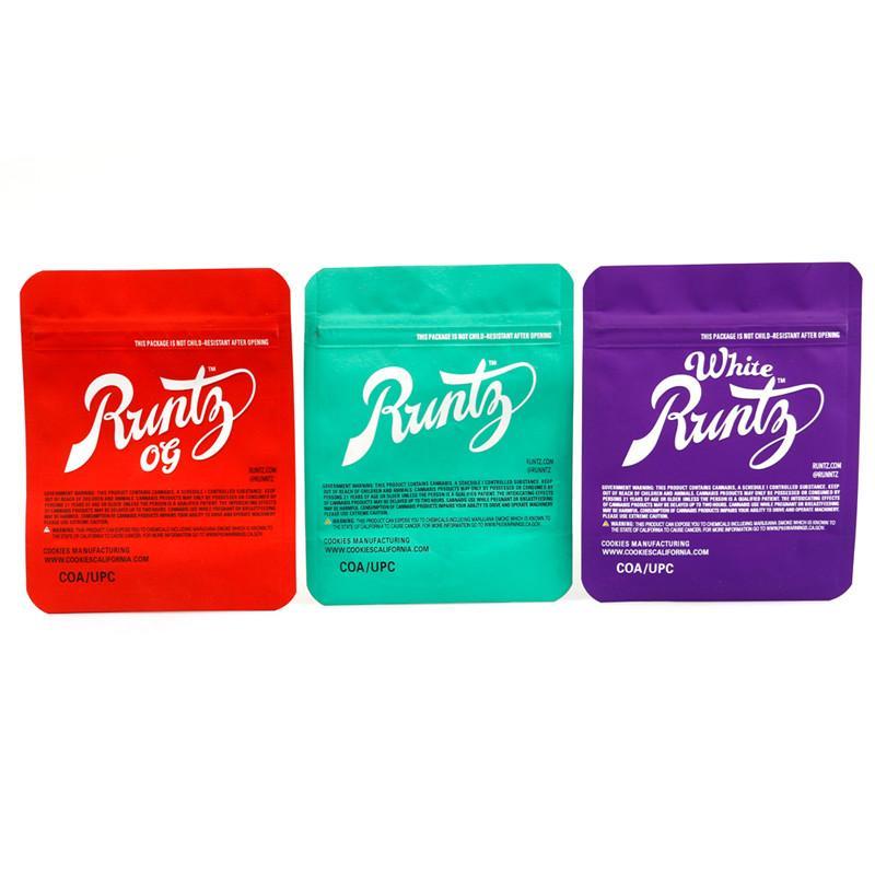 Runtz OG Mylar Bag White 3.5g Purple Red Green Zipper Bag 3.5g Smell Proof Childproof Dustproof Storage for Dry Herb Tobacco Flower