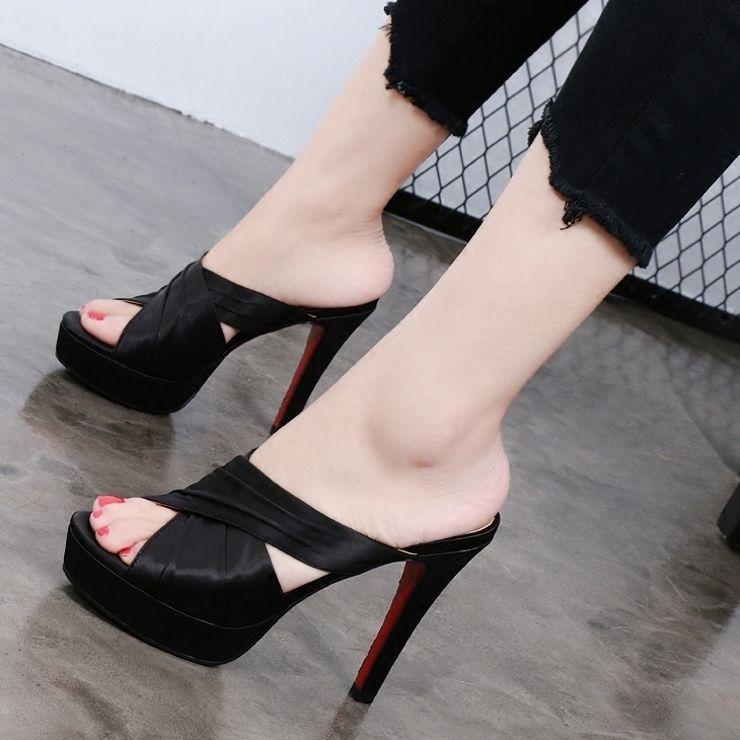 Wild2019 High Bow Fine Cool Slipper Mujer Plataforma impermeable Sedas Satén Fideos Finos y gruesos Fondo Uno La Palabra Arrastrar