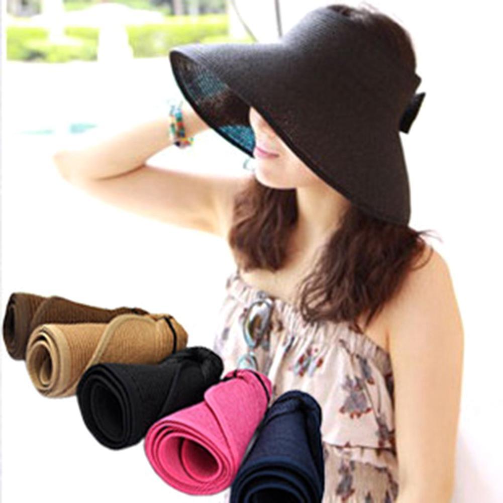 2018 mujeres de Boho del estilo de ala ancha de paja sombrero visera plegable Roll Up Floppy playa del casquillo del sol
