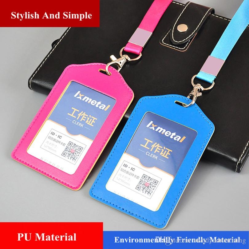 10Colors ID Badge Identity card Bank Card Holder Leather Case Cover and Lanyard