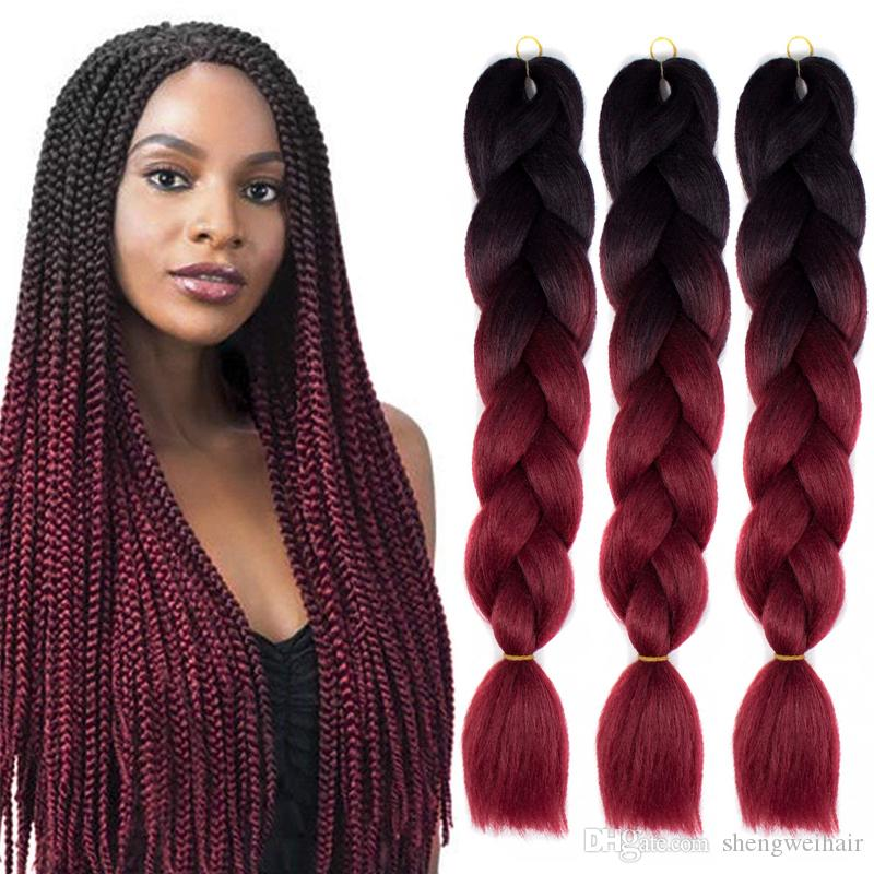 Ombre Xpression Flechthaar Two Three Tone Jumbo Box Braid Crochet Geflechte Synthetic-Haar-Verlängerungen 100% Kanekalon Flechthaar 24 Zoll