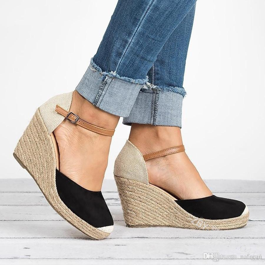 Plataforma sandalias de las cuñas del talón de la cubierta Flock Gladiador correa de hebilla de colores mezclados los zapatos de verano Mujer Sandalias Mujer H152