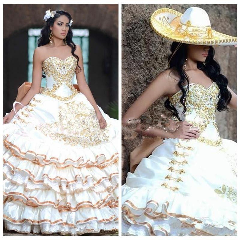 2020 clássico Bola Querida Vestido Quinceanera Vestidos Gold Lace frisado apliques de bordados Peplum Júnior Vestidos De Quinceanera Prom