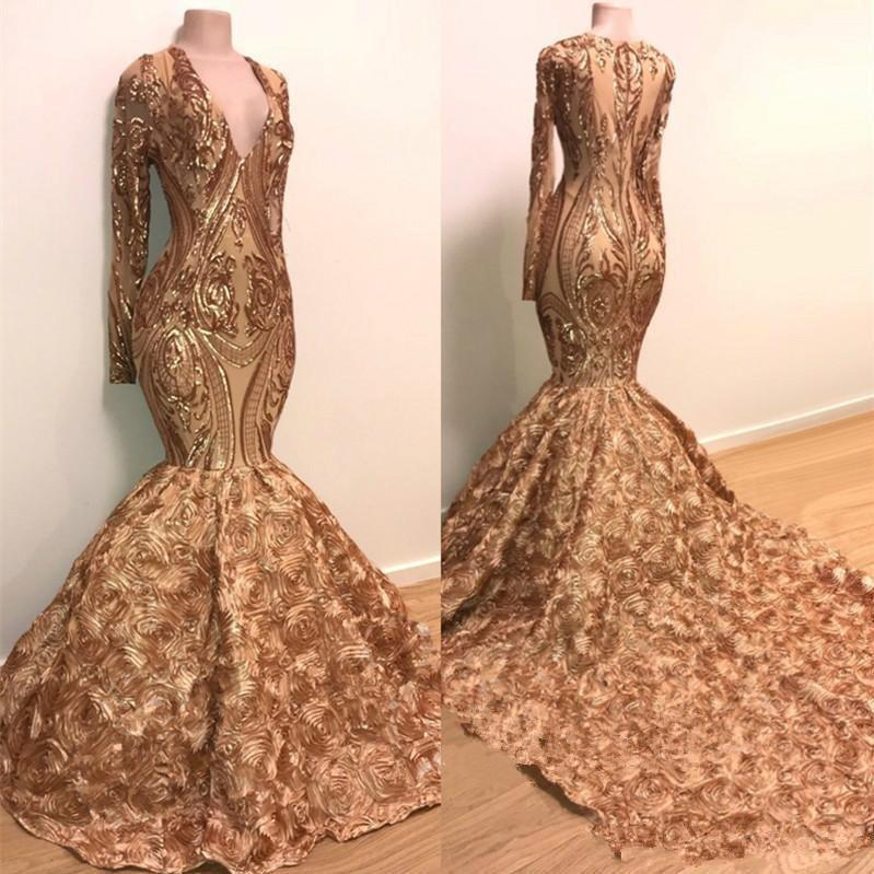 Pailletten Applique-Nixe-Abend-Kleider 2020 Echt Bild Long Sleeve Goldchampagne 3D Rose Blumen Bottom African Black Mädchen Abendkleid
