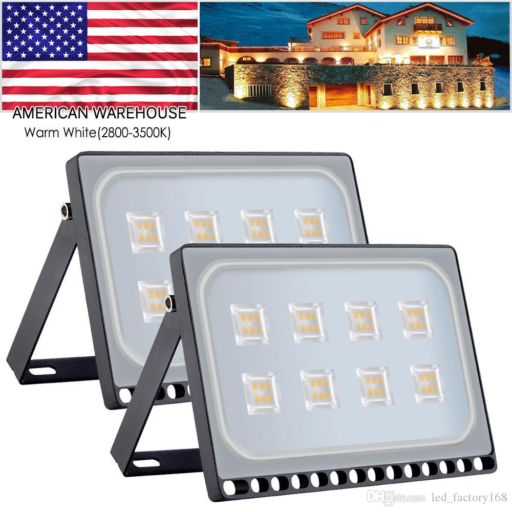 초슬림 50 와트 LED 홍수 빛 방수 IP65 야외 슈퍼 밝은 보안 조명 경기장 조명 정원 빠른 배송 미국 2 개 판매