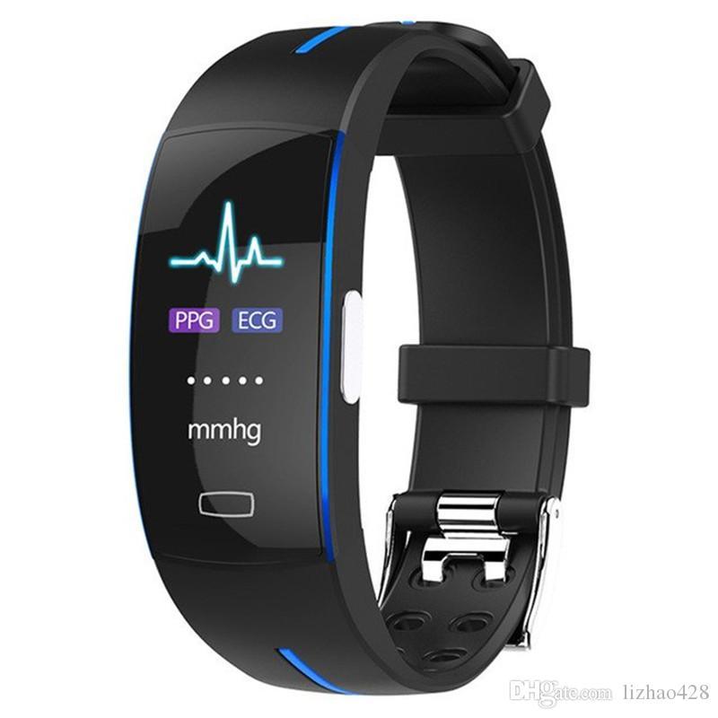 ضغط الدم المعصم الفرقة القلب رصد معدل PPG ECG الذكية سوار الرياضة ووتش اللياقة البدنية تعقب للرجال النساء الأطفال