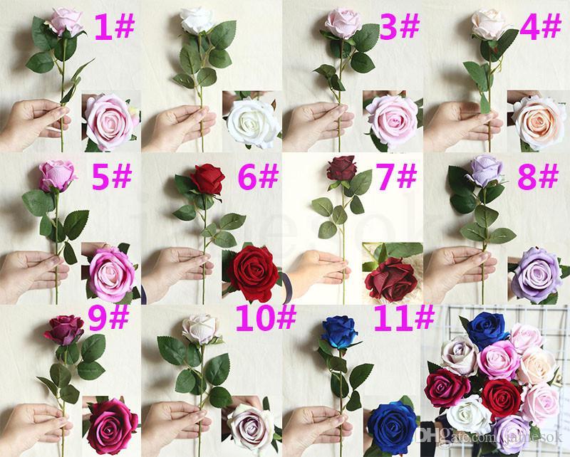 Tek Zarif Güzel Yapay Çiçekler Gül Simülasyon Flanel Çiçekler Buket Ev Dec Parti Düğün Dekorasyon DA128