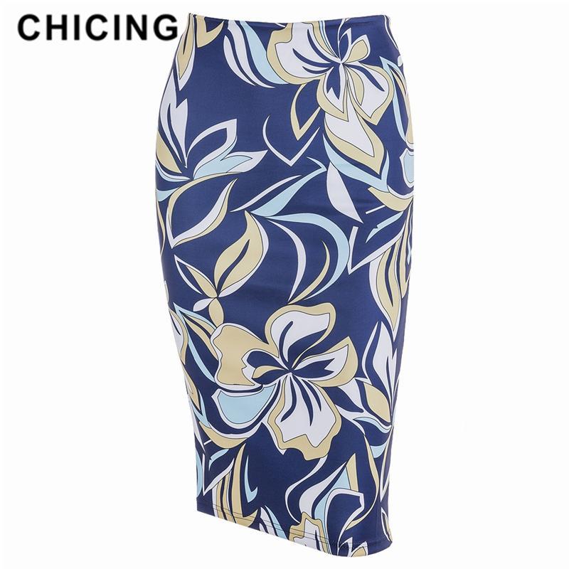 Venta al por mayor nueva llegada elegante cintura alta azul floral impresión midi falda vintage elegante bodycon lápiz falda mujeres 1810059
