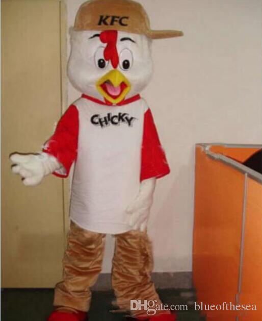 2019 venta caliente traje de la mascota del pollo de KFC tamaño adulto del vestido del vestido del vestido de lujo del envío el ccsme libera el envío