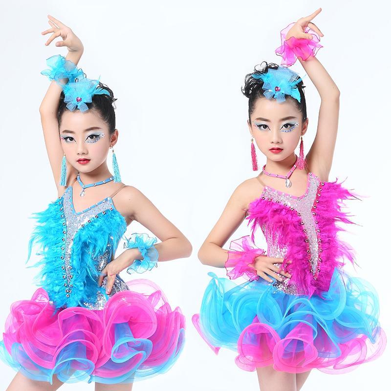 Девушка Латинской DanceChildren профессиональный латинский танец Современный вальс/танго/танец костюм девушка платье бальные конкуренции платье