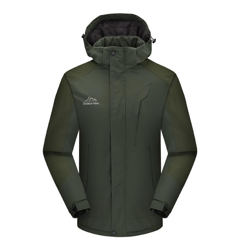 Alpinismo al aire libre Ropa con capucha cepillado y el impermeable gruesa chaqueta de algodón acolchado ropa impermeable de los hombres de impresión personalizables