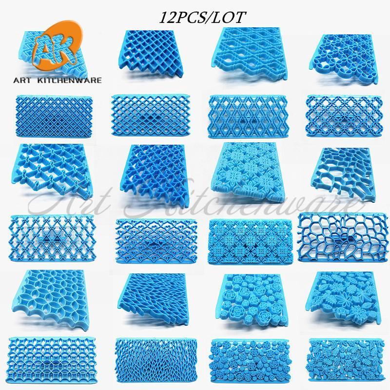 12PCS تصميم كب كيك مجموعة من البلاستيك الطباعة البسكويت الكوكيز القاطع أقراص سكرية القاطع لحاف المزخرف الانطباع أدوات تزيين الكيك