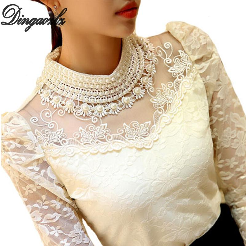 Dingaozlz elegante de manga larga con cuentas mujeres blusa de encaje camisas de ganchillo Blusas de malla blusa de gasa ropa femenina MX19070501