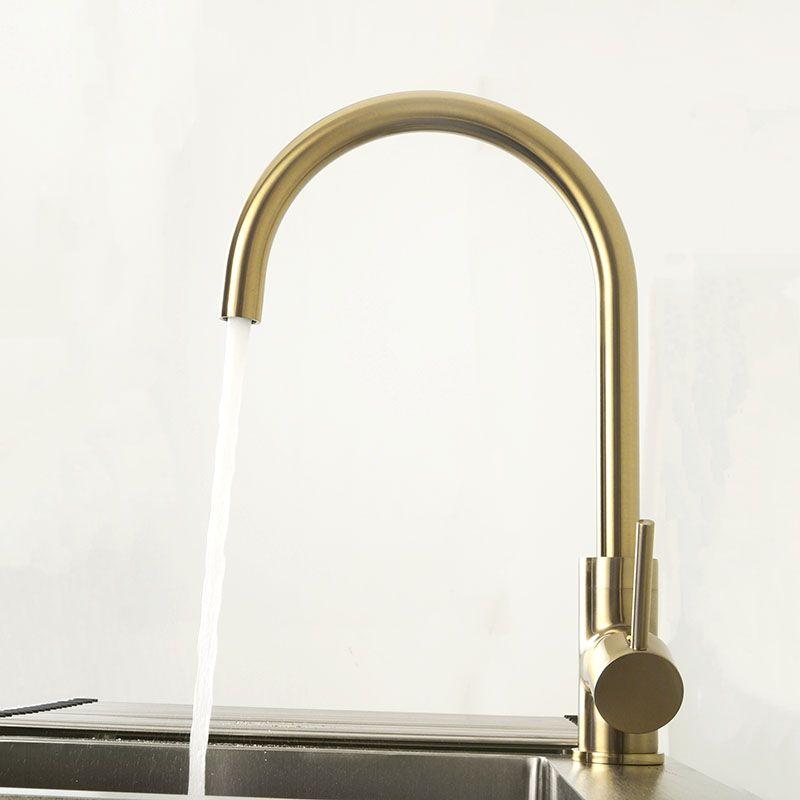 Mélangeur de robinet de cuisine en laiton doré noir brossé double évier rotation cuisine robinet d'eau froide et chaude monté