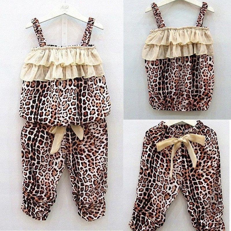 2 шт мода Леопард лето детские наборы дети девушки одежда жилет топ + брюки лето ребенок девочка одежда vetement fille