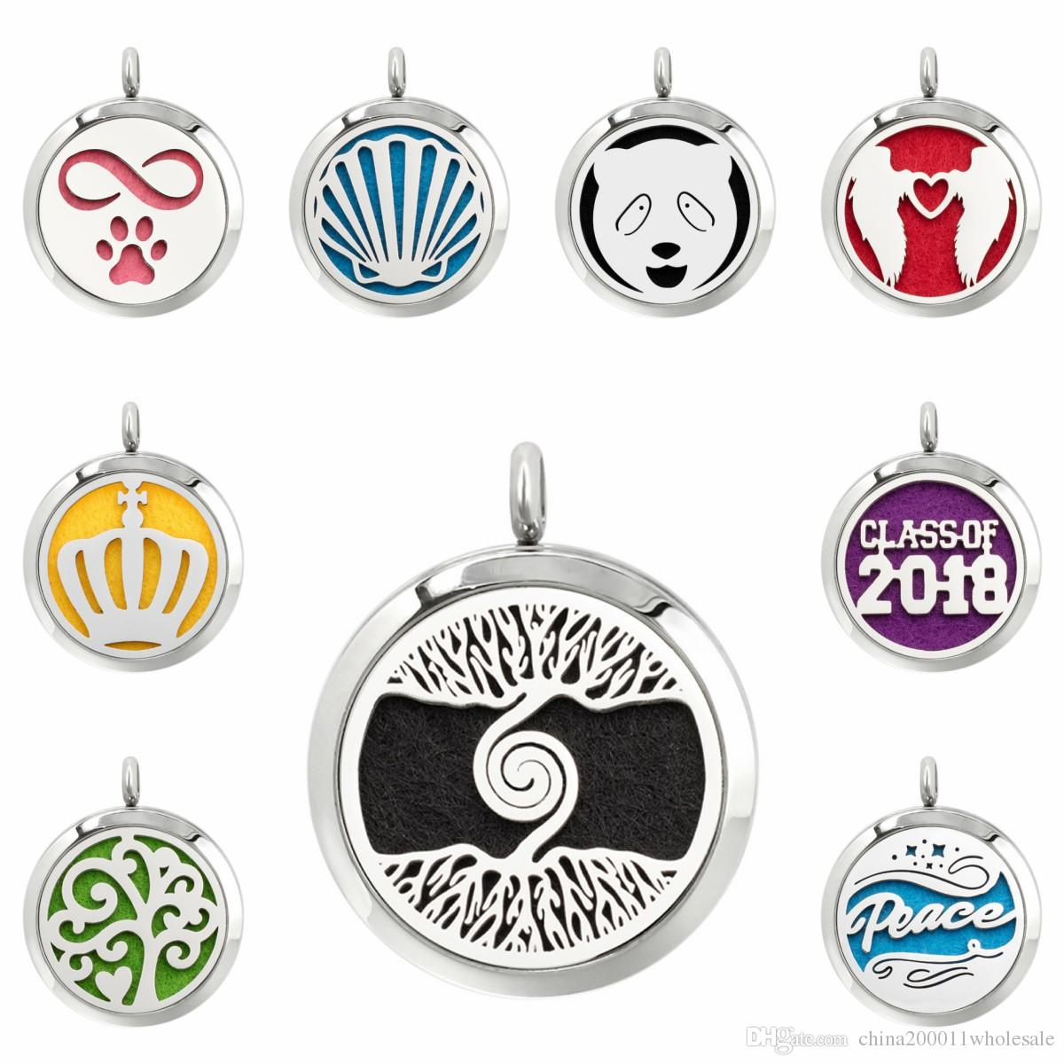 Tree of life infinity paw 30mm Magnet Stainless Steel Diffuser Necklace Pendant Essential Oil Aromatherapy Perfume locket 10 Pads (no chain)