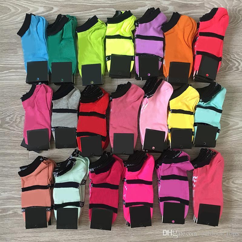 Femmes Filles Mode Noir Multicolors Chaussettes Coton Socquettes Sport adolescents Football Cheerleader Bas avec des étiquettes en carton