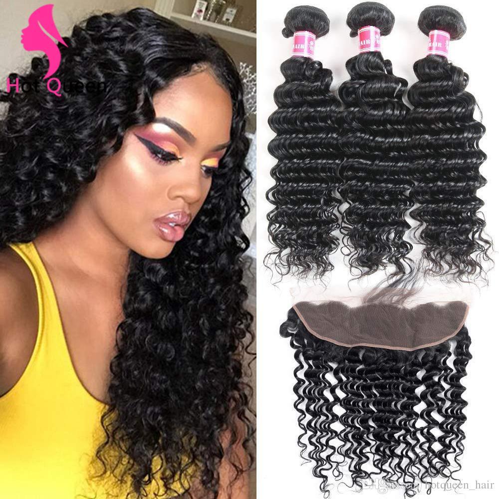 Peruvian Deep Wave 3 Bundles with Frontal Closure 9A Ear to Ear Lace Frontal Closure with Bundles Bouncy Curls Brazilian Virgin Human Hairs