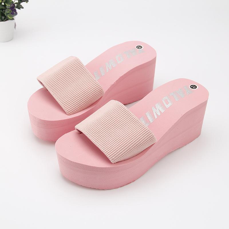 2020 pas cher Simple Chanclas tissu élastique chaussons femmes haut talon plage Tongs été Plate-forme Sandales Zapatos Mujer Lady
