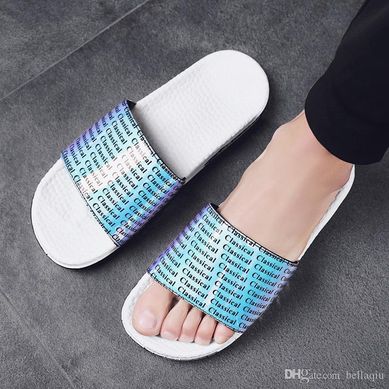 FREE SHIPPING Men's shoes sandals and slippers bright surface slippers summer thick bottom indoor and outdoor sandals anti-slip word dr