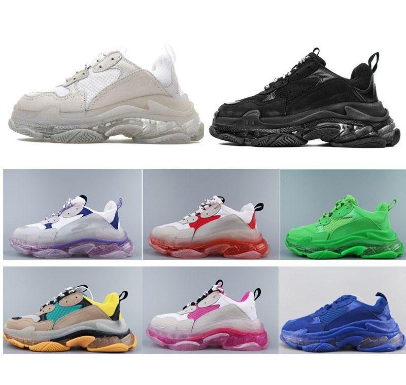 2020 남성과 여성 캐주얼 신발 트리플 S 클리어 단독 화이트 블랙 그린 브랜드 디자이너 트레이너 36-45