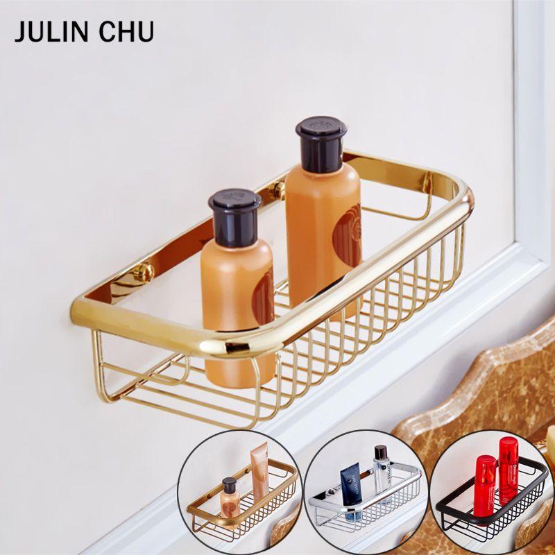 Gold Bathroom Shelf Black Antique Bronze Bathroom Basket Holder Chrome Wall Mounted Square Storage Shower Shampoo Bath Holders