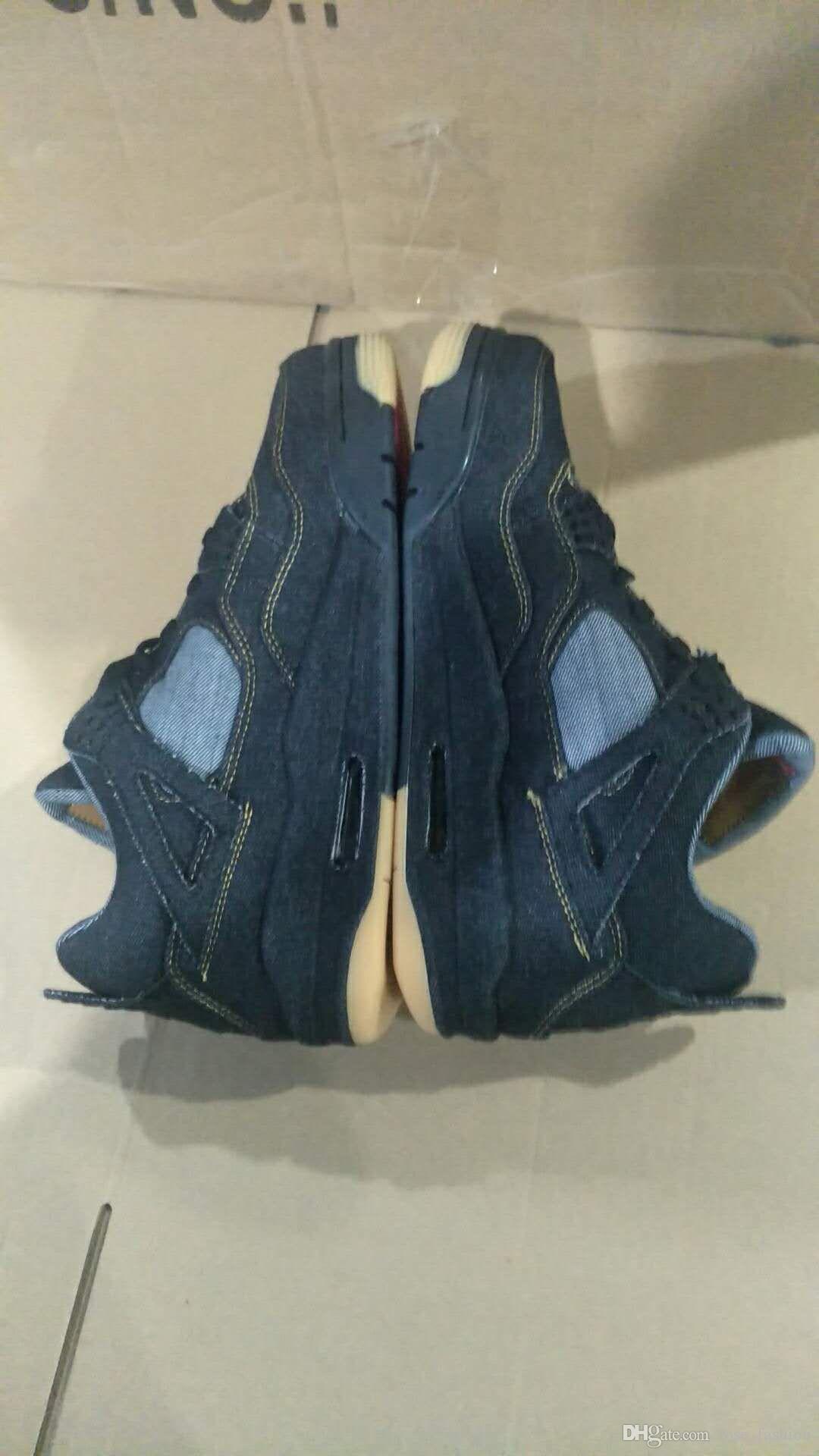 4 denim NRG Azul Negro Blanco Jeans Zapatos de baloncesto con caja original 4s denim Travis Jeans Calzado deportivo zapatillas de deporte envío gratis
