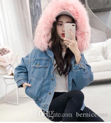 mulheres jean jaqueta de inverno de espessura Jean Jacket Faux Fur Collar velo capuz Denim Brasão Feminino Quente Denim Outwea