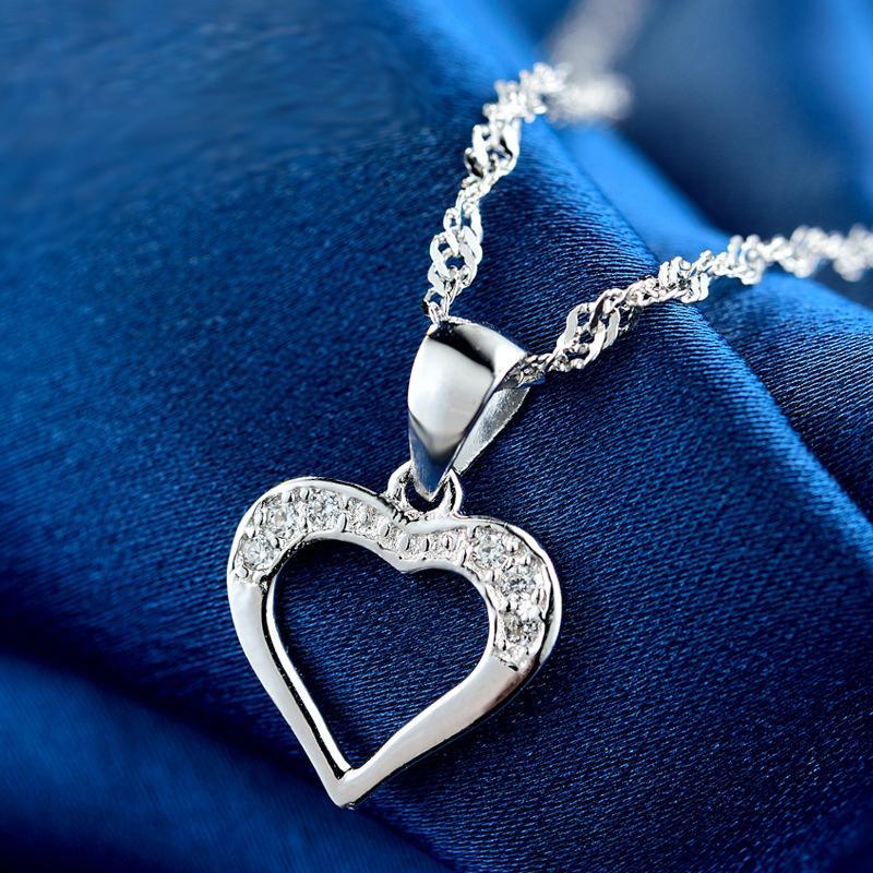 Colar Moda JRSIAL Acessórios Ladies S925 prata incrustada com Zircon simples oco amor colar de pingente cadeia