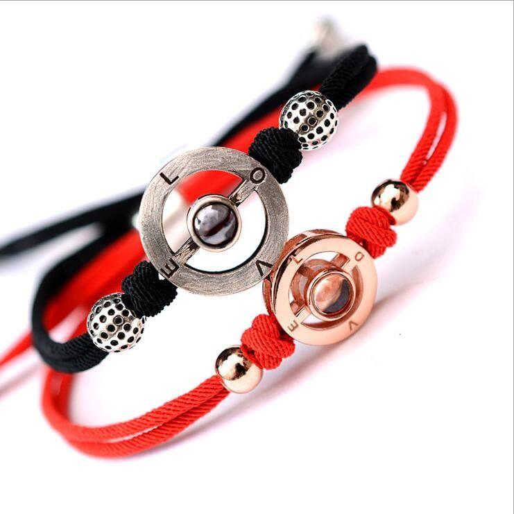 Oro rosa Pulseras de la pareja Joyería de cuerda roja negra Plata 925 real 100 idiomas I Love You Memoria Charm Pulsera Hombre Mujer